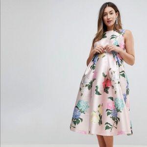 Maternity floral  Satin Dress